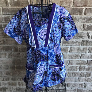 Grey's Anatomy Scrub Top Barco Blue Purple Floral